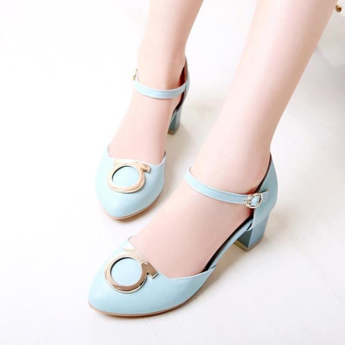talons hauts-Pure Color Low Heel Heel Thick Women Band D coration M tal Pompes sjY1hejfl