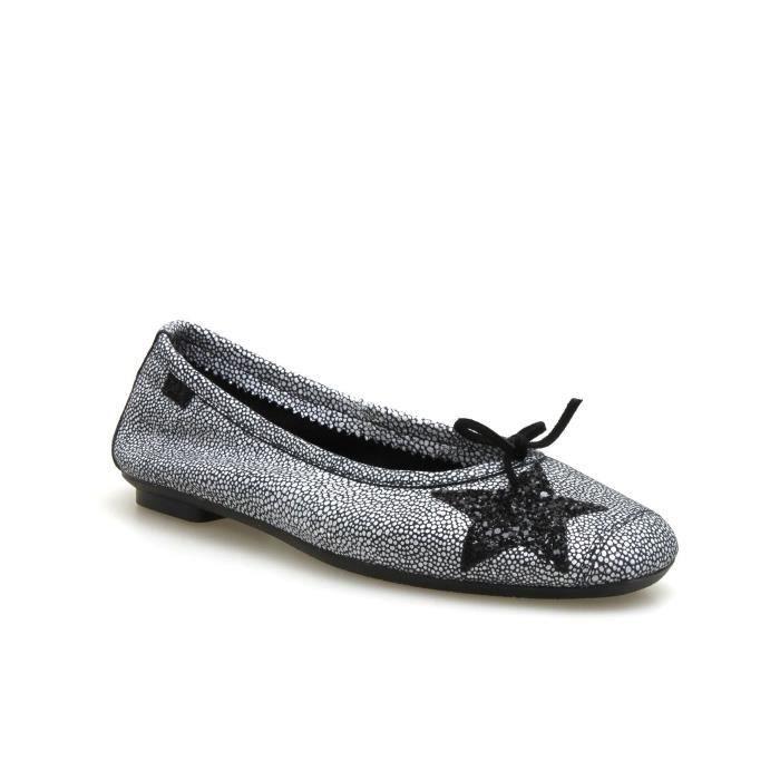 BALLERINE REQINS, Ballerine cuir  au féminin  NEW  noir/blan