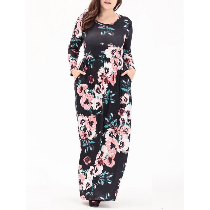 Robe de femmes Color Block O Neck Robe imprimée florale 12847952