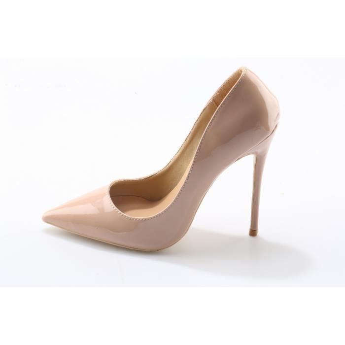 Femmes chaussures talons hauts pompes beige en cuir verni 12 cm talons hauts chaussures femmes usine en gros livraison gratuite