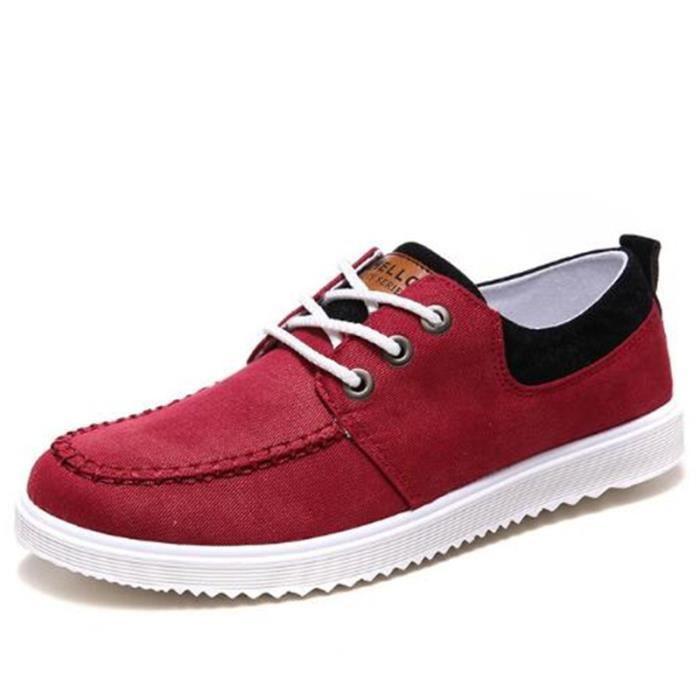 Chaussures En Toile Hommes Basses Quatre Saisons Populaire BXX-XZ115Rouge44
