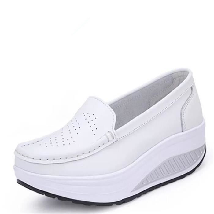 Chaussures Femmes Printemps ete Plate-Forme Chaussures BTYS-XZ058Blanc37
