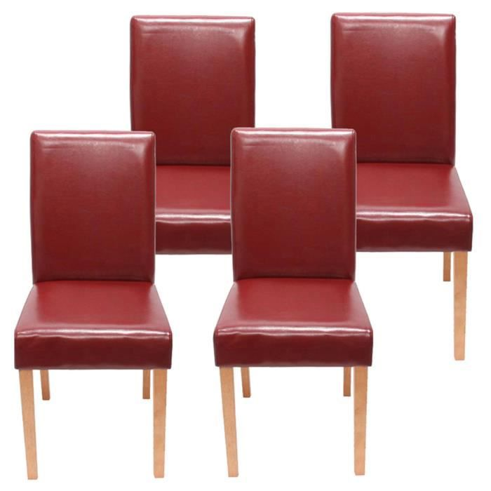 Lot De 4 Chaises De Salle À Manger Rouge Avec P  - Achat / Vente
