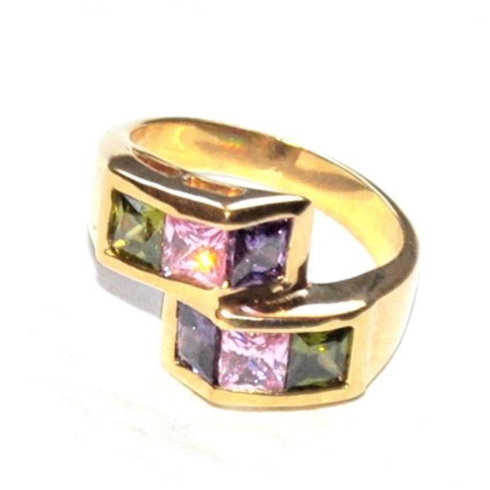Bague plaqué or 18 carats et zirconium multicolore T 54 bijou