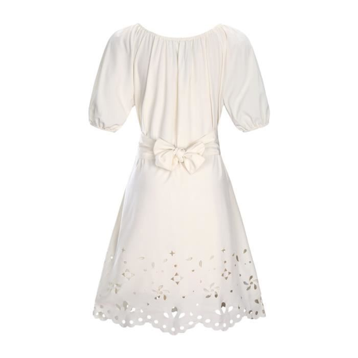 SIMPLE FLAVOR Robe Femme Col Rond Broderie Mode