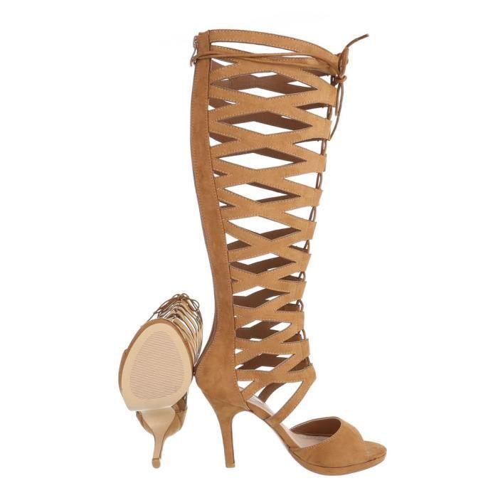 c684042804d0 ... Sandale Escarpin Botte 39 Talons Femme Camel Hauts À Chaussures Été  5H6q0pHw ...