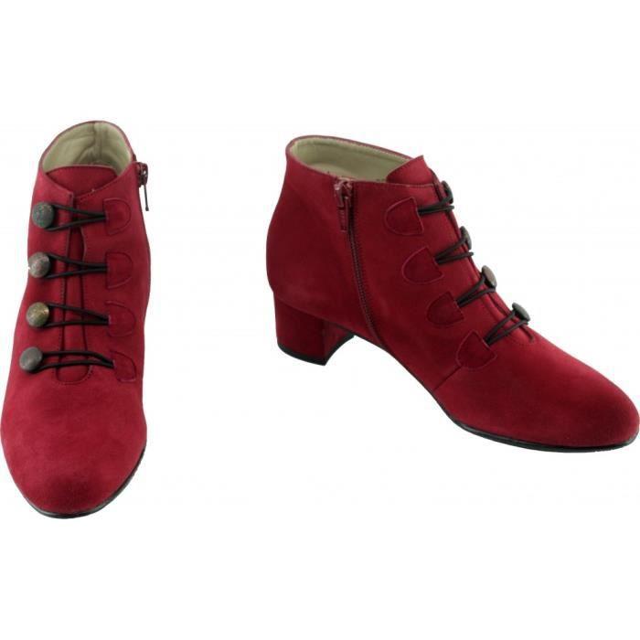 Femme Angelina marques déco fabriqué rouge chaussures ISIS Bottine à boutons tailles daim Espagne pointures talon moyen Wqw0zAp4