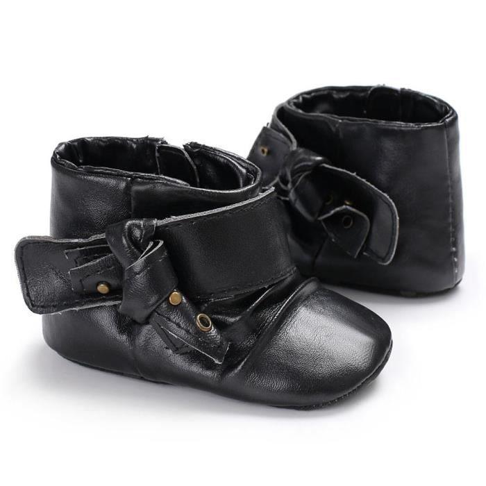 Napoulen®Fille Doux semelle Bootes bottes de neige infantile chaussures de réchauffement NOIR-XPP2017665 wiOKVB0