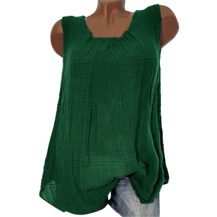 Gilet T Débardeurs Coton Plus Size T shirt Femmes Manches 4201 Baggy Chemisier Lin SY5qfw0