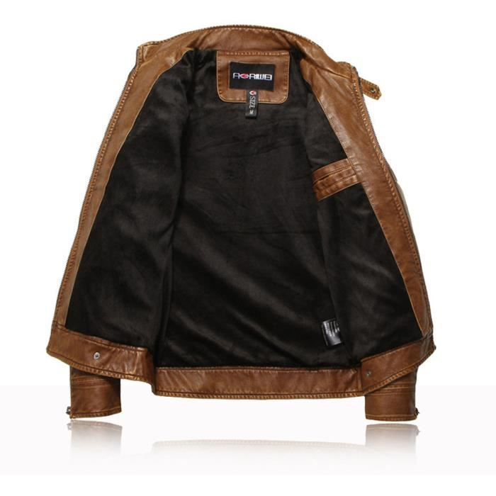Leather Homme Marque Jaune Doublure Cuir M xxxl Casual Zipper Blouson Froncé Hiver Luxe Parka Schott Moto Veste Pp Jacket 7yRydOw4q