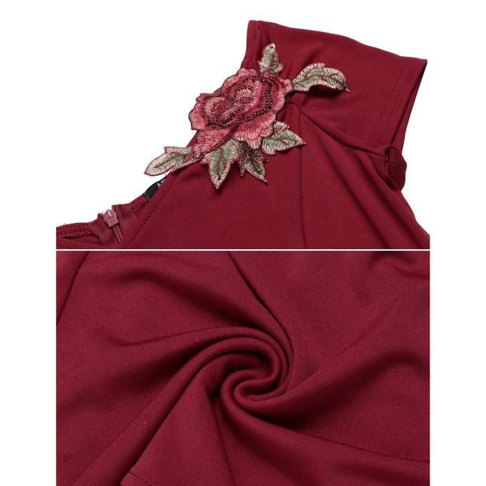 Robe de sirène de Hem Styles Vintage col v manches courtes solide épaule plissé