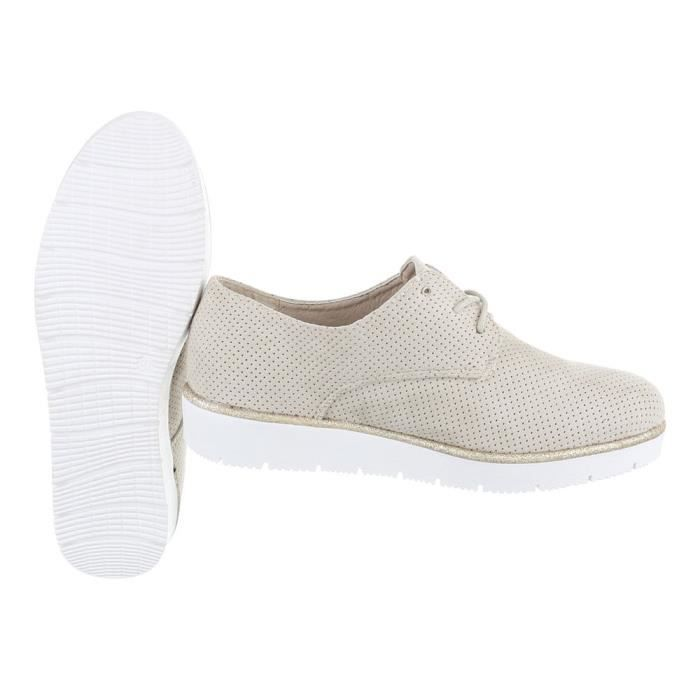 Femme chaussures flâneurs lacer Beige 41 9mgwC5