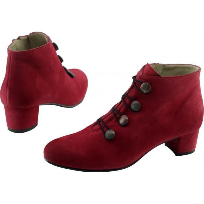 ISIS - Bottine à boutons déco talon moyen marques Angelina chaussures Femme pointures tailles fabriqué Espagne daim rouge