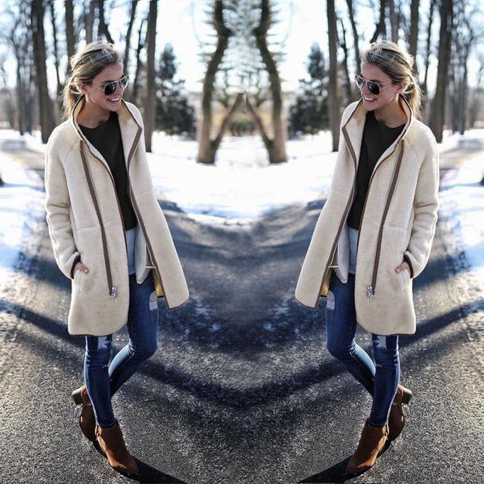 Paontry1547 Manches Pardessus Veste Féminine Velours À Outwear Manteau Massif Thicker Longues Mode qfZwntPn