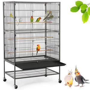VOLIÈRE - CAGE OISEAU Grande Volière pour Oiseaux Cage sur roulettes Can