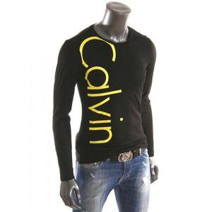 312f59b82c698 T-Shirt Calvin Klein jeans Manche longue Homme NOIR - Achat   Vente ...