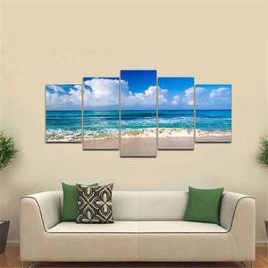TABLEAU - TOILE TEMPSA 5pcs Tableau Peinture à Huile Seascape Sans