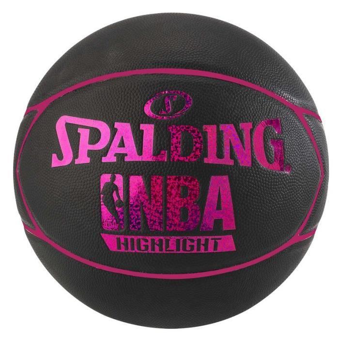 SPALDING Ballon de basket-ball NBA Highlight 4her Outdoor - Noir et rose fuchsia - Taille 6