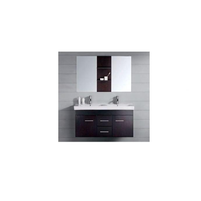 Meuble de salle de bain Baghéra 2 vasques + 2 miroirs - Wengé ...