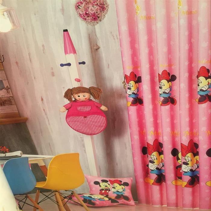 rideau illets occultant rose minnie enfant 140x260 cm. Black Bedroom Furniture Sets. Home Design Ideas