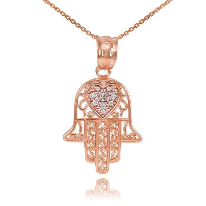Pendentif 10 ct filigranependentif Hamsa 471/1000 or rose diamant