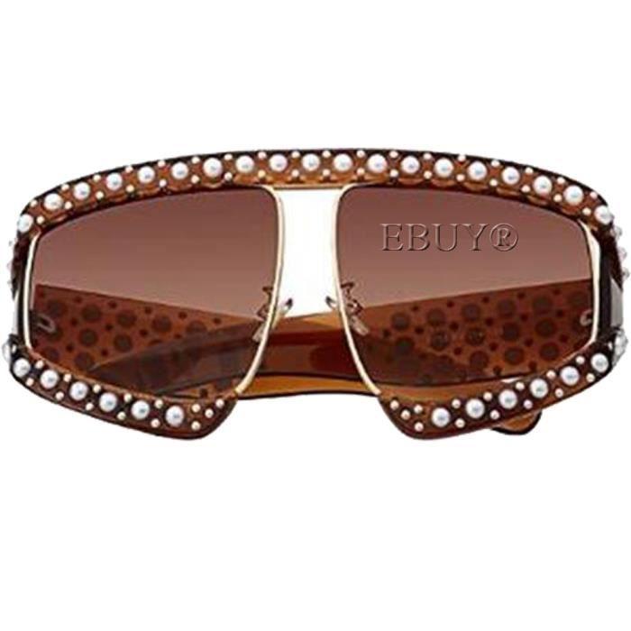 EBUY®Lunettes de soleil femme avec perles marron