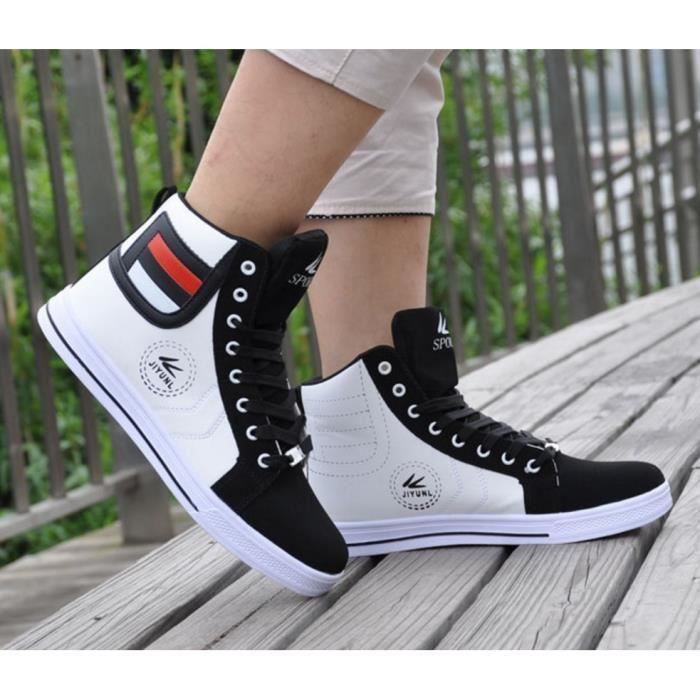 Baskets Montantes Fashion Noir Noir Blanc
