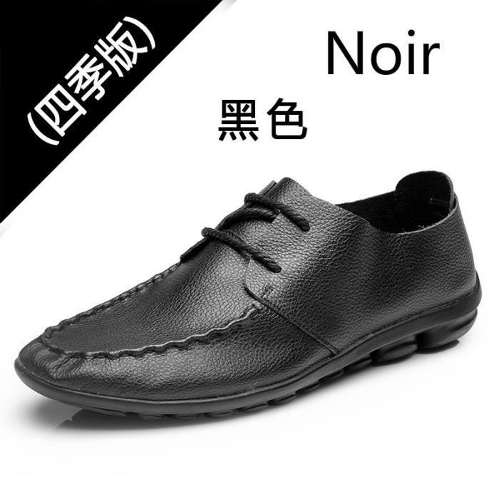 Loisirs De Mode Chaussures En Cuir Pour Homme noir