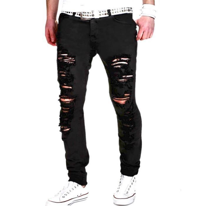 5b2785fdd6502 Jeans Homme troué sport Jeans Hommes slim fit Vêtement Masculin - Noir