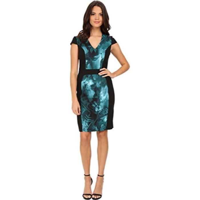 Adrianna Papell Cap Sleeve Printed Bloc Dress KFKCF