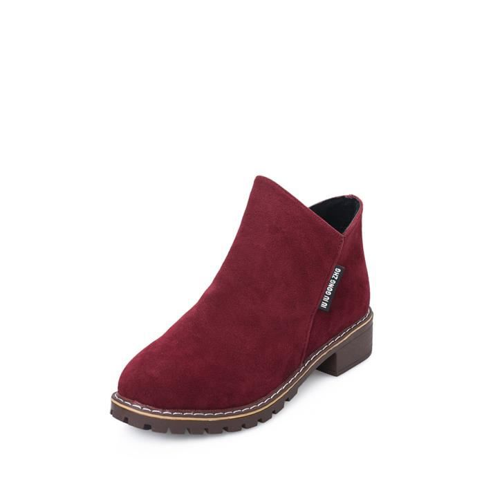 Bottes Matte femmes peau solide Couleur Normal Fashion Style causales ronde Chaussures Toe cheville 9413668 LKWhRyCP