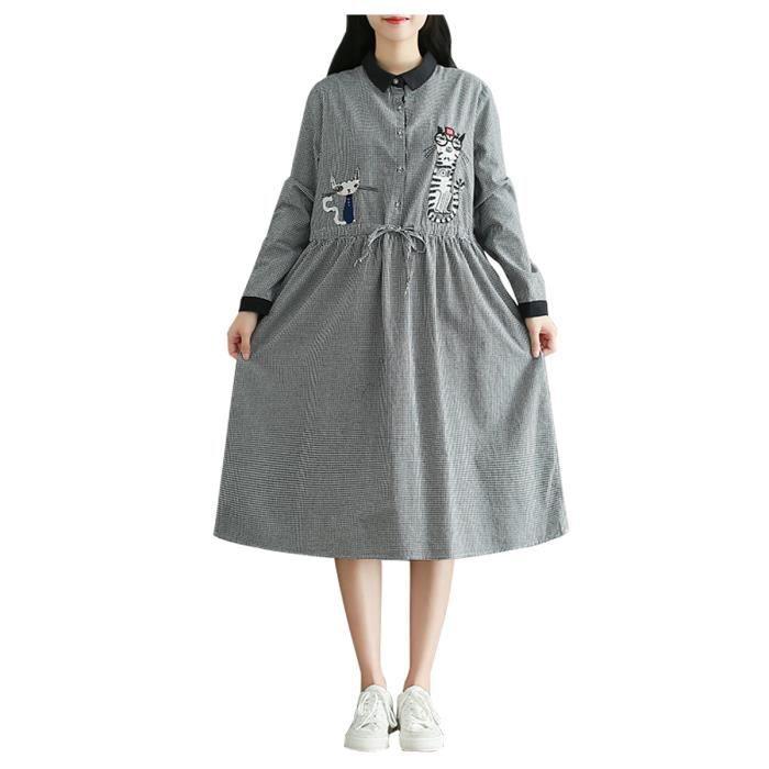 5f5744c95be robe aline femmes manches longues lâche confortable dessin animé modèle  chat robe midi
