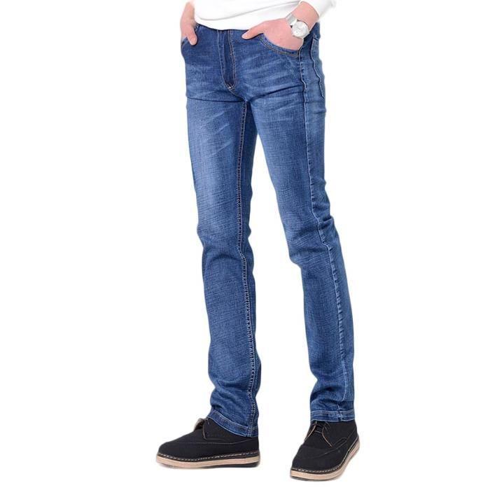 Homme Bleu Droite Coupe Jean Mince Clair Pantalon Coton Casual dxqdHF