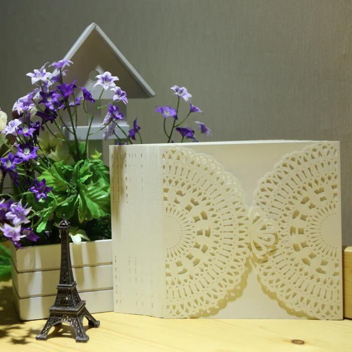 20pcs Cartes D Invitation Carré Design Délicat Sculpté Romantique