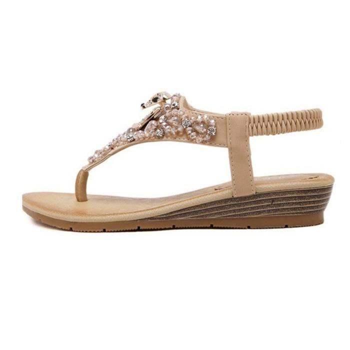 Sandales femme nouvelle mode Été strass plage plate-forme