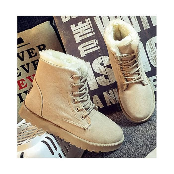 Chaussures Sneaker Hiver Fourrure Chaudes Suede Cheville Up Minetom Flat Boots Femme Lace Neige axABq7z