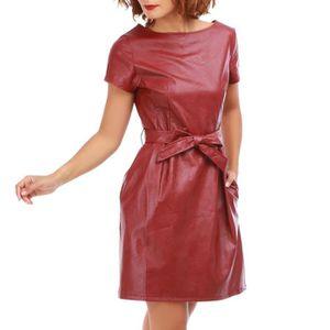 ROBE Robe bordeaux en simili cuir