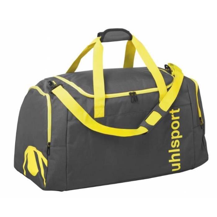 UHLSPORT Sac de sport Essential 2.0 - 75 L - Gris anthracite et jaune - Taille L