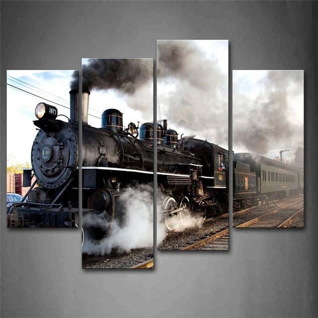 TABLEAU - TOILE Une voiture et un train avec de la fumée grise Tra