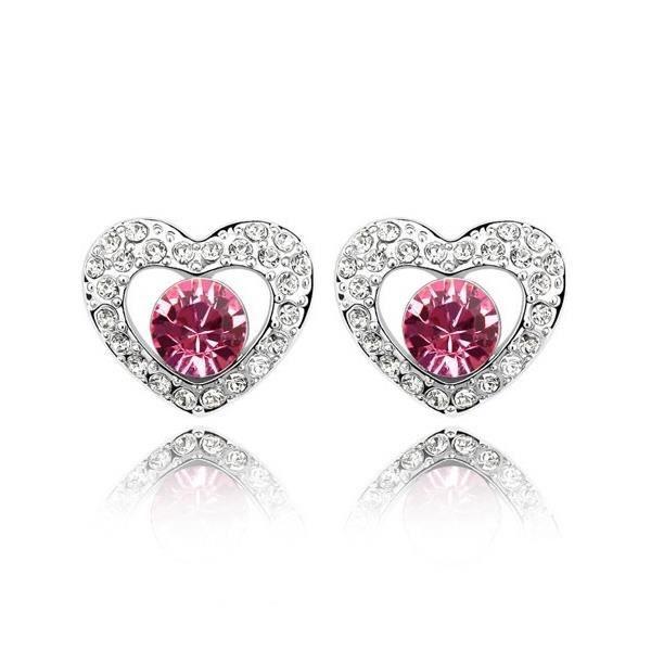 Boucles doreilles Coeurs en Cristal de Swarovski Element Rouge