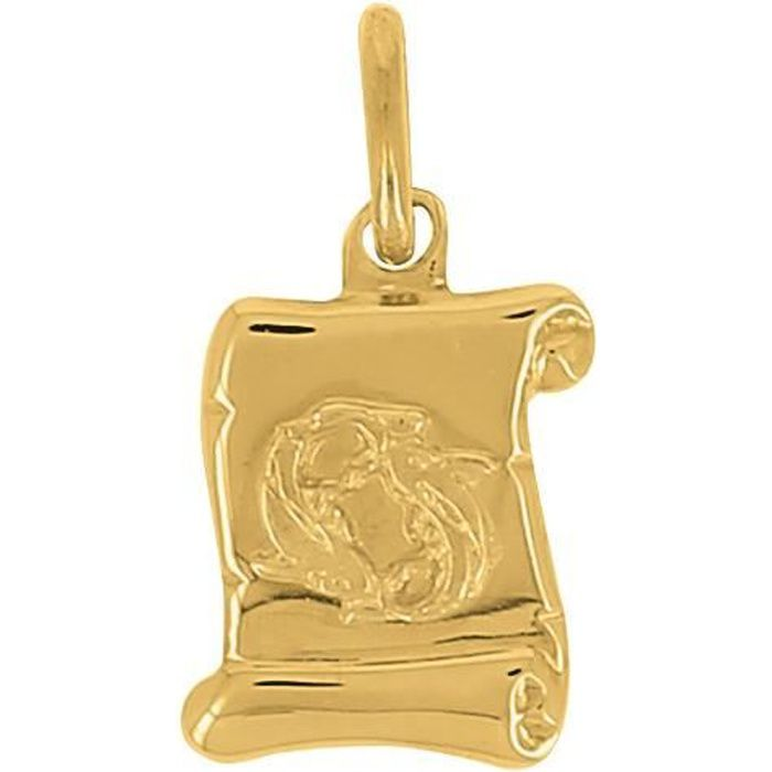 Pendentif Zodiac Parchemin Poisson En Or 18 Carats + Chaîne En Or Offerte