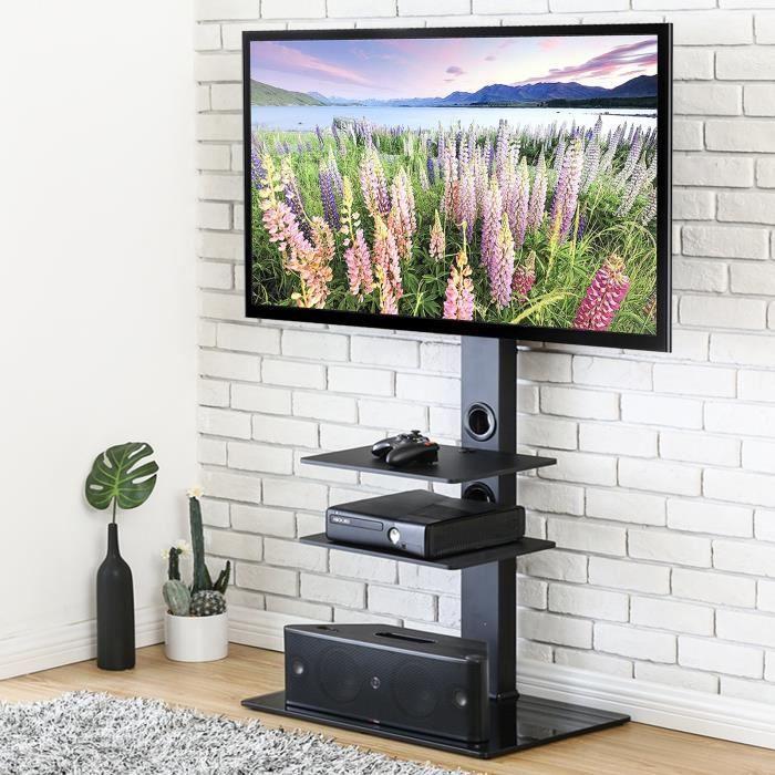 de7bdf6b56c66f FITUEYES Meuble TV avec Support Pivotant Cantilever pour Téléviseur DE 32  Pouce à 65 Pouce Ecran LED LCD Plasma avec 3 Etagères p
