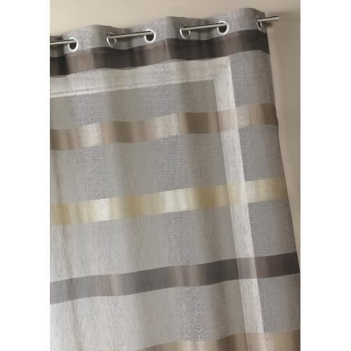 Voilage rayures horizontales design taupe 140 achat for Dressing pret a poser