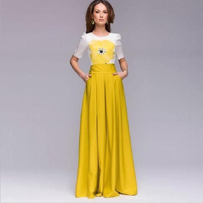 c2131ca6c46 Robe longue européenne Nouvelle arrivée Fashion Scoop cou à manches courtes  femmes robe longue robe d'été imprimée