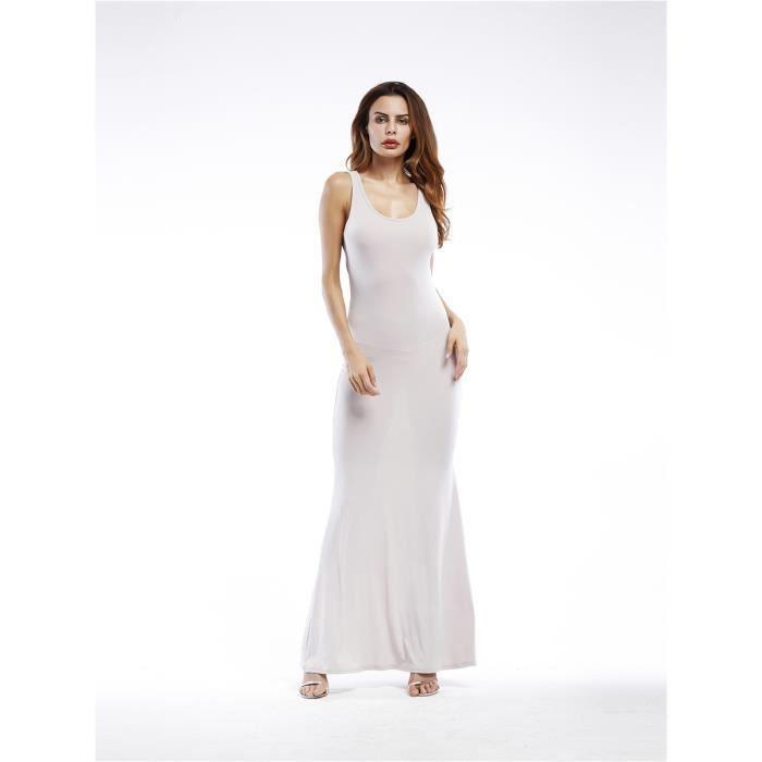 a4366563d0e robe de réservoir des femmes de couleur unie sans manches dos nu maxi mince  longue robe