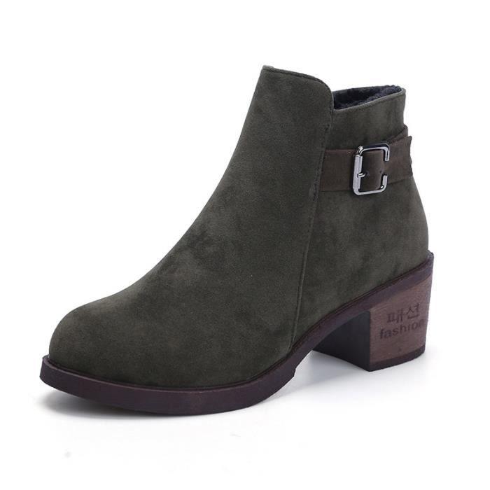 Mode femme Bottes hiver Femme neige en peluche Bottes cheville Flock Zip femmes chaudes Chaussures mode,vert,36
