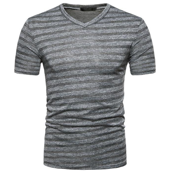 tee shirt homme pas cher Col V T-shirt rayé
