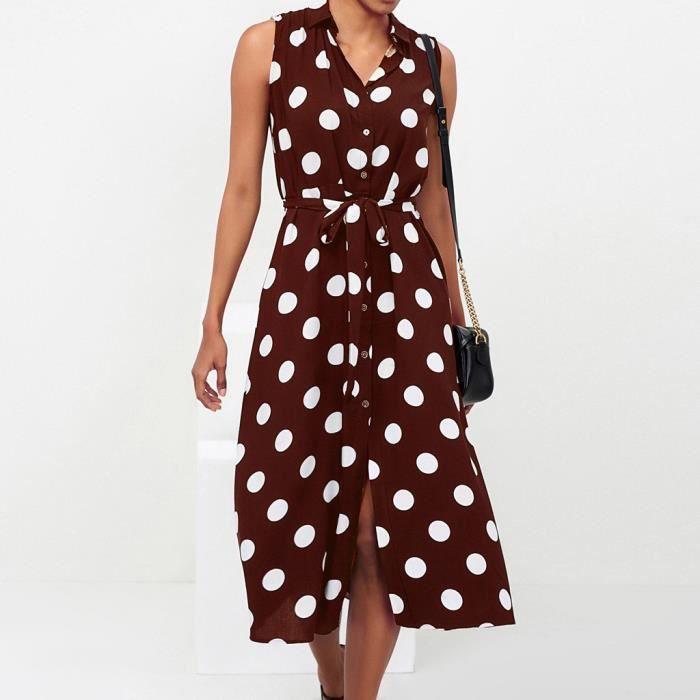 choisir véritable vraiment à l'aise profiter de prix bas Robe longue Femmes Mode féminine Robe Boho à pois Prints col en V taille  lacent Robe sans manches @marron