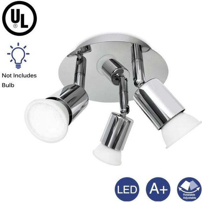 LED 3 spots orientables, plafonnier salle de bain, chrome, GU10 ...