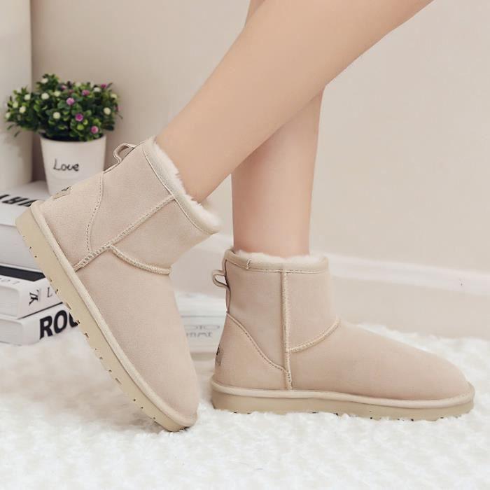 bottes courtes-Pure Color talon plat de laine d...